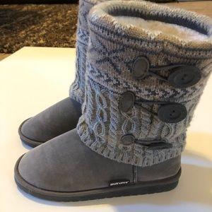 Muk Luks Gray Sweater Fair Isle Pull On Boots 8